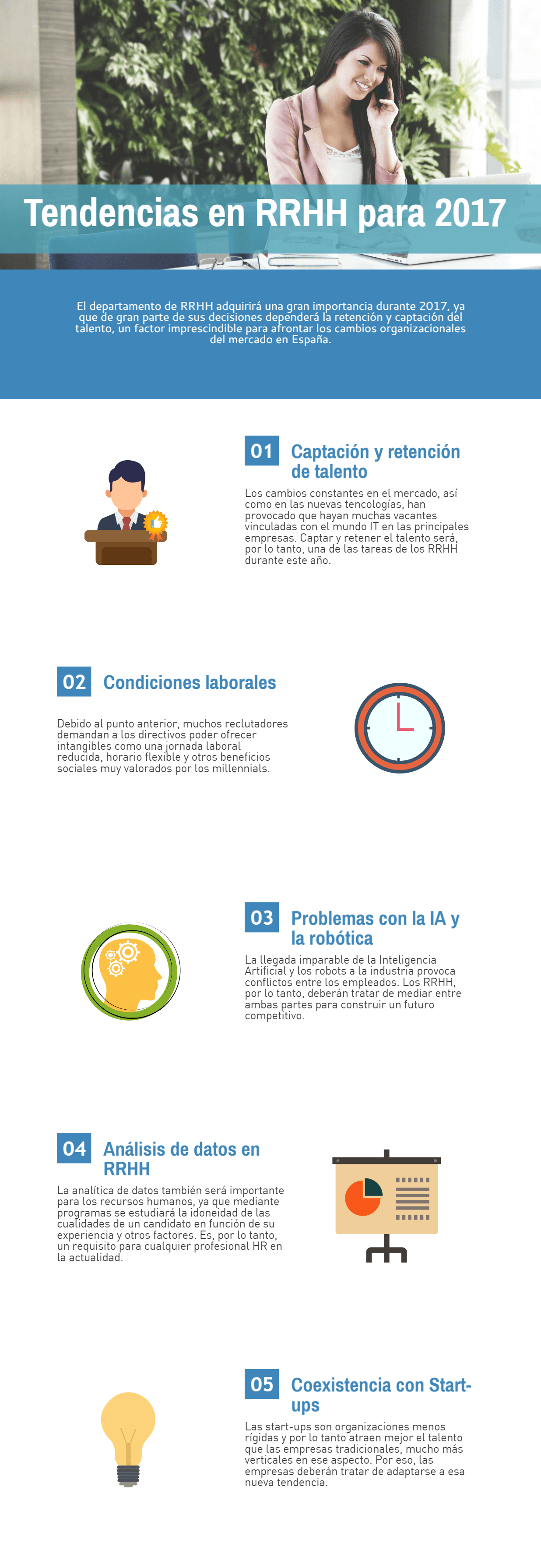 Infografía sobre las tendencias en RRHH para 2017 en España